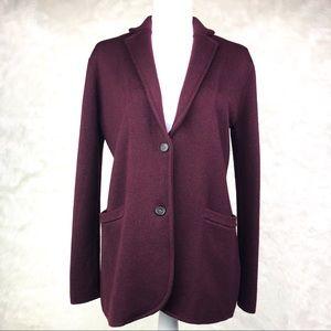 J. Crew Merino Wool Sweater Blazer Cabernet